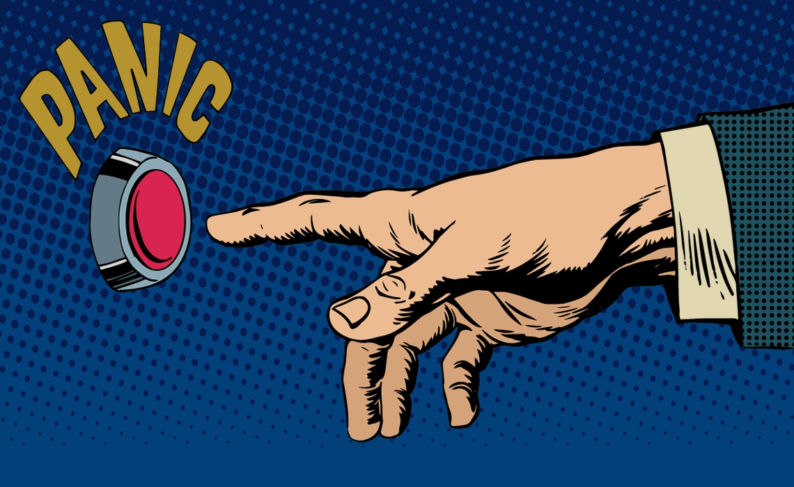 Sarjakuvamainen käsi painamassa punaista nappulaa.