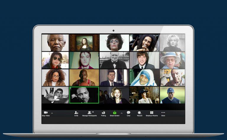 Videopuhelun ruutu tietokoneella, jossa kuuluisuuksien kuvia.