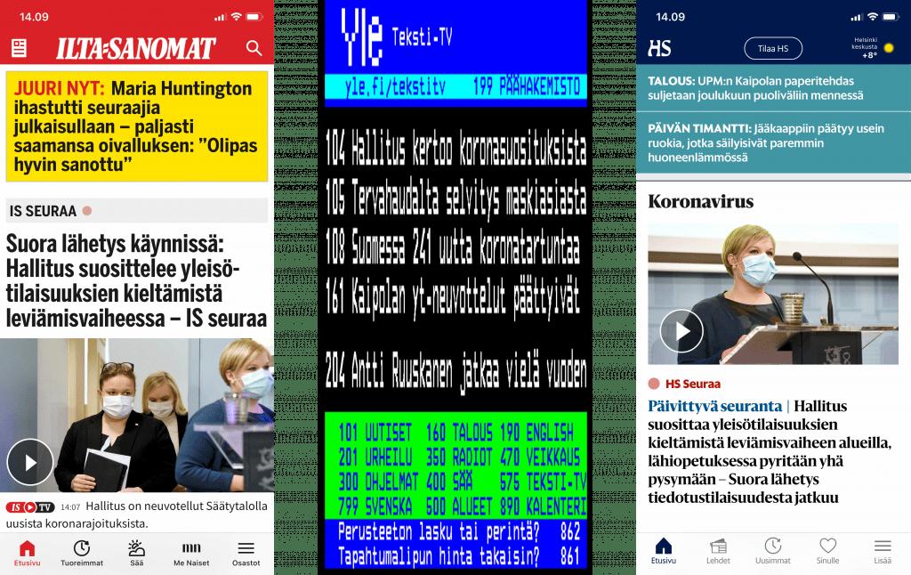 Ruutukaappaukset HS:n, IS:n ja teksti-tv:n mobiilisovellusten etusivuista.